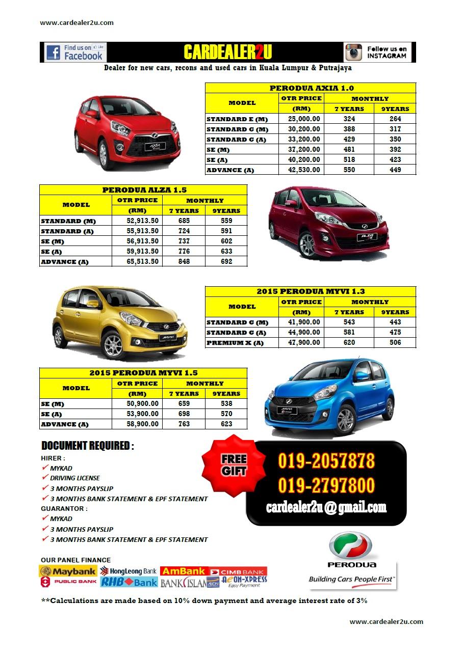Perodua Price list 2015  cardealer2u